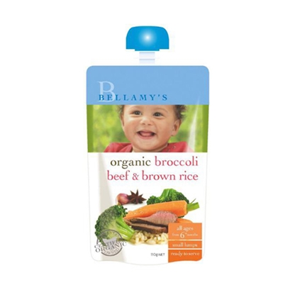 Bellamy's 贝拉米 Organic Broccoli Beef Brown Rice 110g 有机西兰花牛肉糙